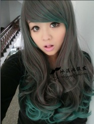 Harajuku style cosplay the lolita wig temperament long curly hair gradient green JF0065(China (Mainland))