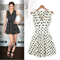 2013 Fashion ruffle V-neck fresh sweet polka dot slim chiffon one-piece dress, big size plus size fashion dress