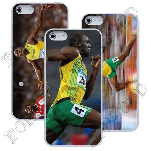 Custom Jamaica Usian Bolt Cover Skin for Iphone 5 Brand ForGood C4035 Retail PVC package luxury case free shipping 20pcs/lot(China (Mainland))