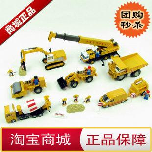 The toy Luxury gift box set configuration engineering truck set truck mixer truck big crane excavator 7 dolls