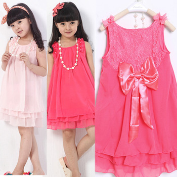 Girls Dress + Necklace Princess Dress Chiffon back bow lace flower dress Pearl Necklace Pink red hot shipping Alince