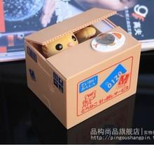 free shipping 3pcs/lot Automated cat steal coin piggy bank,kitty saving money box,coin bank,money bank, novelty toys(China (Mainland))
