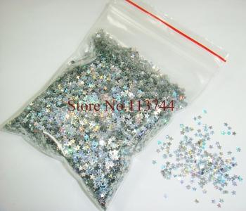 50g/bag x Nail Art Laser Silver Stars Glitter Paillette Spangles Dazzling Shape-Free Shipping Wholesale