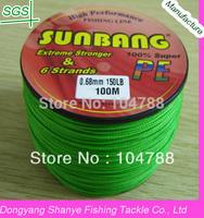 Free shipping 6 Strands 130/150LB 100M Wholesale Fishing Tackle PE Braid Fishing Line -- SUNBANG