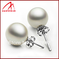 Natural seawater pearl round 925 pure silver shell bead stud earring earrings