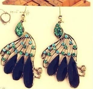 Free Shipping!Wholesale korea Fashion jewelry bohemian National Wind Metal Peacock Feather Crystal Stud Earrings For Women B017