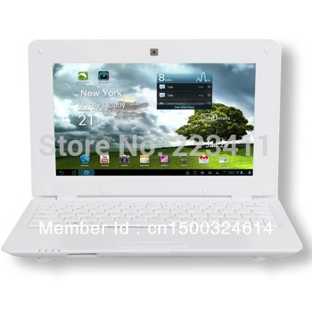 "10.1"" Inch White Android 4.0 Laptop Netbook Computer 4GB Hard Disk WiFi Flash 512M NEW Free Shipping"