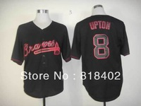 Free shipping-Atlanta Braves #8 Upton Black Fashion jersey,Braves fan jerseys