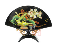 Traditional unique technology gift lacquer fan screen table screen mandarin duck - worker