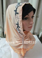 wholesale free shipping mix colors tt114 two layers chiffon embroidery crystal muslim one piece hijab
