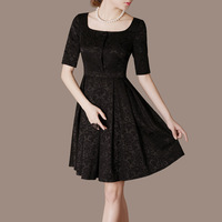 2013 summer brief ol elegant expansion bottom square collar short-sleeve dress plus size available k27