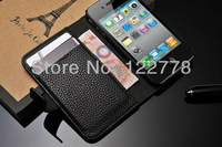 DHL Free Shipping! High Quality Convenient Stand Wallet Design Leather Flip Cover Case For Iphone 4 4S, 20pcs/lot