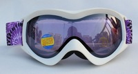 Free Shipping Double PC Lens Polarized Anti Fog Windproof Ski Goggles Brand With UV Protection Purple Dual Snow Glasses  Women