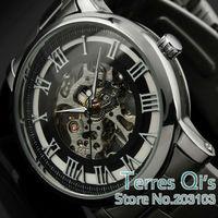 WINNER   New Fashion Watch Men Skeleton Mechanical Watches Wristwatch Free Ship Christmas Gift