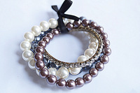Fashion , vintage gem chain pearl bracelet 001