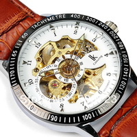 2013  New 100% IK Christmas gift  Automatic Mechanical White & Gold Skeleton Brown Leather Hand watches