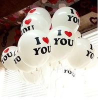 Free Shipping, New 12 Inch 100pcs/lot Print balloon I love You wedding Latex balloon Party Supplies PQ0003