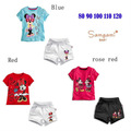 2013 kids fashion baby girls summer clothing set minnie mouse children cartoon clothing girls short sleeve t shirt+shorts2pcs