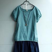 FREE SHIPPING Fluid short-sleeve shirt cute Women linen shirt casual shirt solid color o-neck loose top summer