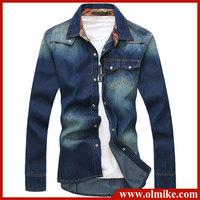 FREE shipping New arrival korea men Jeans shirt fashion long sleeve stripe denim shirt brand t shirt color:bule S-XXL C255
