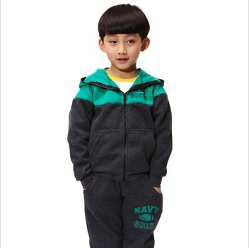 Free shipping boys and girls children's spring and autumn fashion sweater suit track suit (jacket + pants) size(2Y - 11Y)(China (Mainland))
