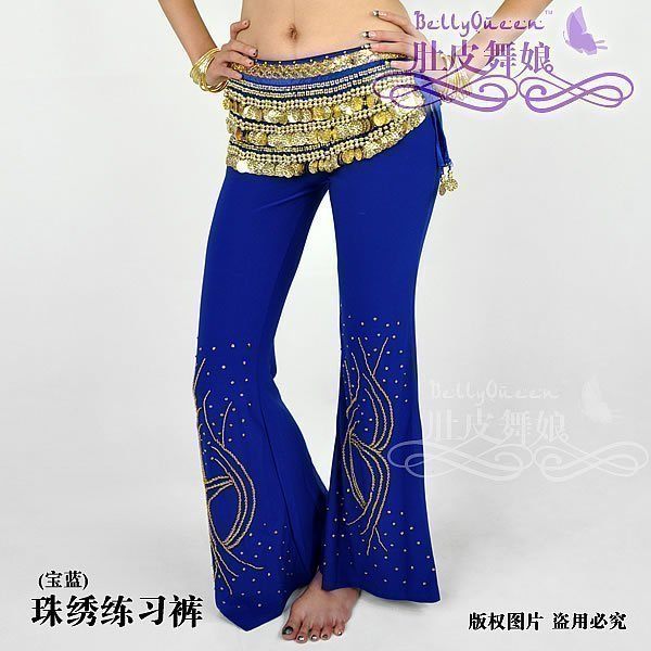 Belly dance belly dance trousers Latin dance trousers beaded training pants belly chain(China (Mainland))