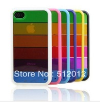 MOQ 1pcs Silicon Rainbow Shell Cover Case Soft back case cover for iphone 4 4s Free shipping