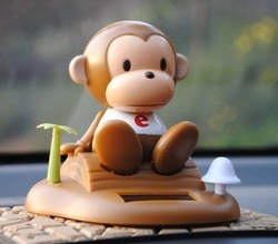 Free shipping Exhaust pipe solar doll monkey exhaust pipe decoration bobble head doll car accessories brown(China (Mainland))