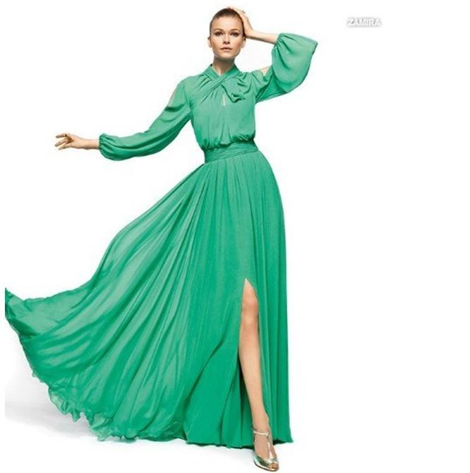 الفساتين الطويلة  تخفي عيوب الجسم وأكثر أناقة Latest-Green-high-neck-empire-waistline-chiffon-front-center-silt-long-sleeves-evening-gowns-dresses-TY