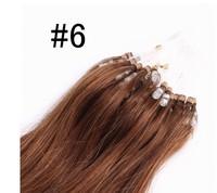 Virgin Brazilian20''-26''Human Hair Extension Micro Loop 1g/s #6 Medium Brown