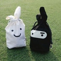 Free Shipping Wholesale White Balck Ninja Rabbit Travel Pouch For Lunch Fold Storage Bag  pen bags Cosmetics pouch 10pcs/lot