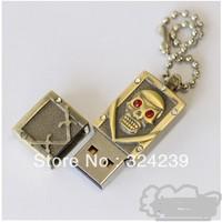 Wholesale Hot Gold Metal skull+Chain USB 2.0 Flash Memory Stick Drive