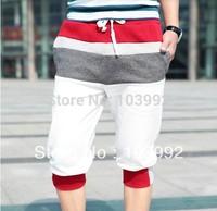 Free Shipping Good Quality  Lace Hit Color  Casual Summer Men Pants, Men's  Cropped Pants,Cotton Trousers ,Men Sports Pants