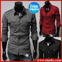 New style Men's Epaulet designer Winter & Autumn Casual shirts cotton long sleeve t shirt for men drop shipping Asia S-XL C115