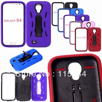 10pcs.LOT for samsung Galaxy SIIII S4 i9500 hold stand Plastic PC + soft silicone case cover skin free shipping