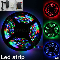 Indoor 5M 300leds RGB 3528 Flexible Strip Lights + 24Key IR Controller +12V Power adapter(China (Mainland))