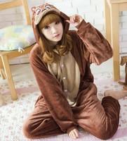 Men/Women Brown Chipmunk Costume  Animal Hoodies Pajamas Causal Lounge Sleepwear