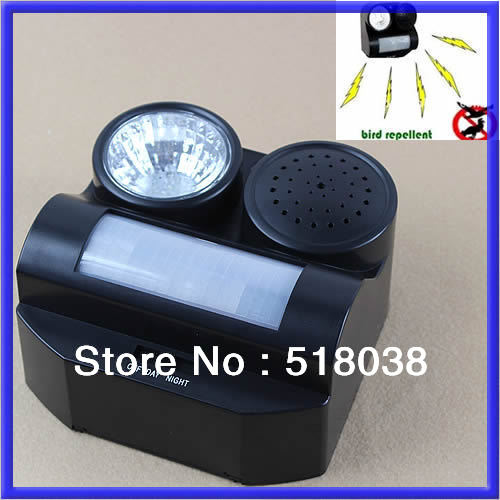 A25Free Shipping PIR Motion Activated Sound and Flashlight Animal Bats Bird Repeller Repellent(China (Mainland))