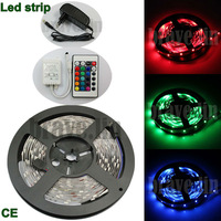 5m/set 12V Indoor IP60 SMD RGB 3528 24key controller Flexible LED Strip Light with 12V 2A Power adapter Supply Free shipping!