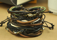 Mixed Hotsale Cool New Vintage Men Women Hemp Surfer Handmade Braid Leather Wrap Bracelet Wristband A005