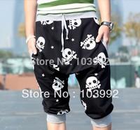 Free Shipping Good Quality Fashion Skull Printing Hit Color Harem Men's Pants , Men Clothing,Cotton Trousers ,Men Sports Pants