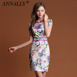 Annally one-piece dress fashion women&#39;s luxurious and noble nylon comfortable soft print short-sleeve dress female(China (Mainland))