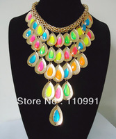 2013 New Arrival Unique Design Fashion Long Teardrop Watre drop Multicolor Choker Chunky Bib Statement Necklace For Women