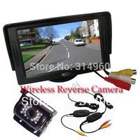 "4.3"" LCD Monitor Car Rear View Kit + 18 LED IR Wireless Car Reverse Reversing Camera Free Shipping"