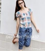 High Quality   2013   Women's Light Pink Blue  Casual  Grid  V-neck Slim  Jumpsuits , WF1066 size