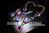 2013 New Arrival Unique Design Fashion Choker Chunky Neon Bib Statement Necklace For Women