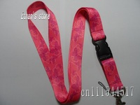 Free Shipping Girls Pink Butterfly printing key lanyard vendors
