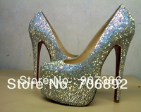 sheepskin colorful rhinestone pumps, red bottom 16cm daffodil strass, diamond high heels, women crystal wedding shoes