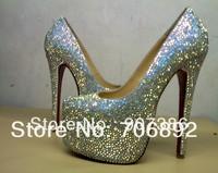sheepskin colorful rhinestone pumps, red bottom 16cm daffodil strass, diamond high heels, women crystal wedding shoes