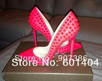 Free Shipping Wholesale Red Bottom Shoes Pigalle Spikes 120mm- 2013 Fluorescent Rose Red Studs Women Wedding Shoes 10 Days Ship